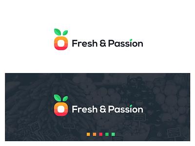 Logo for a fruit and vegetable import company flat icon logo vegetarian greenery green identity minimal branding fruit illustration fruit logo vegetables vegetable fruit