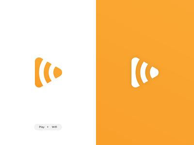 Play + Wifi icoon logotype logo design play logo wifi logo orange playful video app ux vector ui branding design identity icon logo icoon wifi play