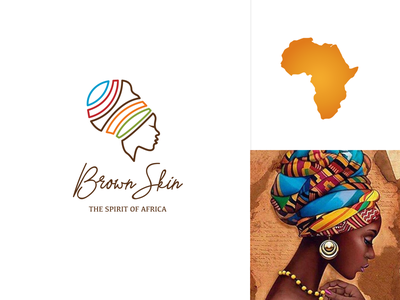 Brown Skin colors logo illustration minimal identity silhouette africa africa brand africa logo beauty logo logo skincare logo