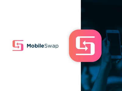Mobileswap Logo ui ios mobile website app web vector typography lettering type illustrator illustration flat clean minimal logo identity icon design branding