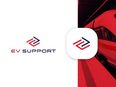 Logo EV-support 🚆 train railway logodesigner logo design logodesign event red minimal lettering logo flat identity clean design icon branding move rail