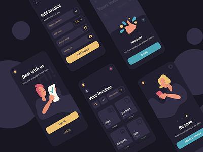 Mobile App BBInvoice ilustration ux dark app design invoice