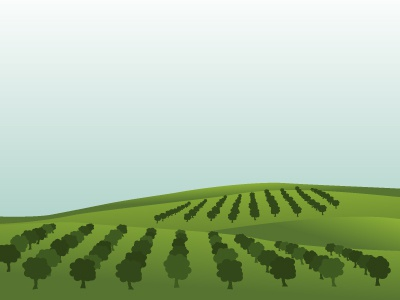 Landscape with orchard farm plant green landscape hills orchard trees