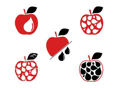 Apple juice symbol red logo shape drop leaf juice apple