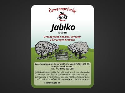 Label for apple juice hills green trees orchard juice apple label
