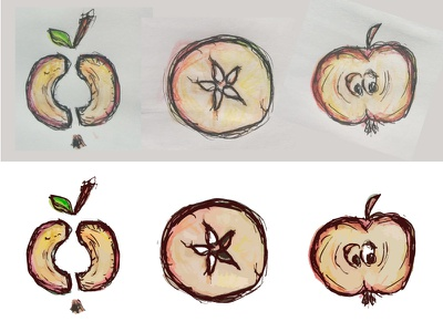 Vectorized apples markers aquarell. crayon drawing apple sketch apples trace vectorized