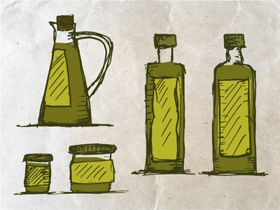 Olive Oil paper carafe glass vectorized drawing sketch oil olive oliveoil