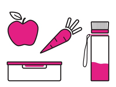 Snack kit food box carrot packing bottle watter apple eat minimalism drawing simple snack