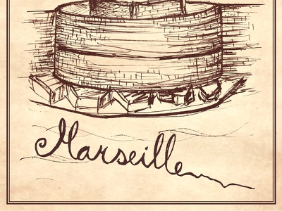 Marseille waves port brick wall oldpaper vector marker lines sketch drawing calligraphy typography showusyourtype marseille