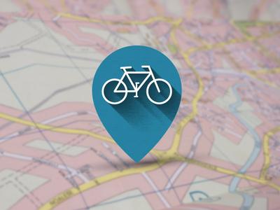 Pointer symbol shadow pointer icon flat map bikesharing bike bicycle