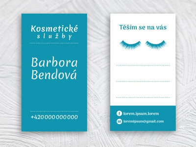 Business card for Barbora Bendová makeup vertical lines eyebrows eyes cosmetics card business card