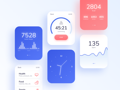 Health & Sport app for iWatch ux typography mobile soft watches sport health iwatch watch app ui minimal design clean