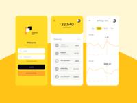 Finance app interface yellow banking finance logo app ui flat minimal design clean