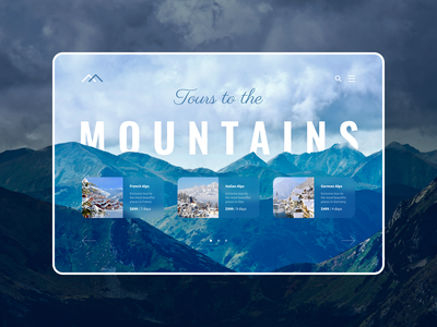 Tours to mountains website design figma graphic mountain website web design