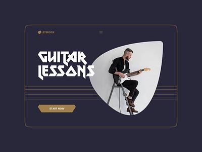 Guitar school website design (minimorphism style) website web typography ui clean minimal minimorphism миниморфизм design