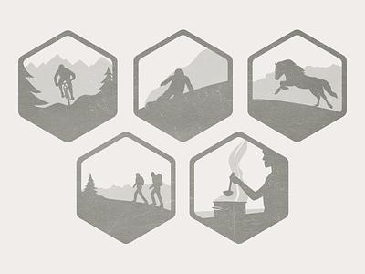 Hobbies icons hobbies flat illustrations silhouette monochrome badges