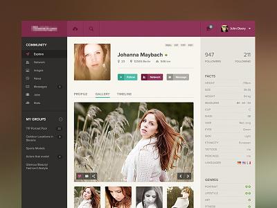 Model Profile flat web ui ui website app concept