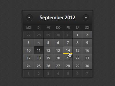 Calendar website landing page ui html css calendar dark