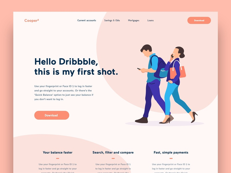 First Dribbble Shot landing page design one page concept invites hello dribbble banking app illustration first shot debut shot debut