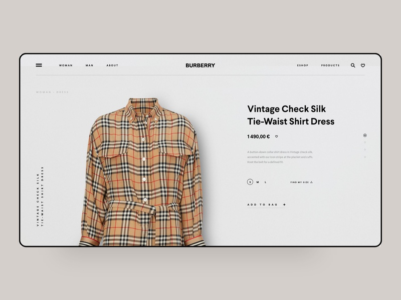 Burberry Shop paris london fashion  blog app web design coating online platform ui ux grid news about blog clean minimal template ecommerce landing page one page burberry luxury shop