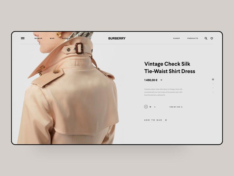 Burberry Shop online platform ui ux grid news about blog ecommerce landing page one page coat fashion clean minimal template burberry luxury shop app web design