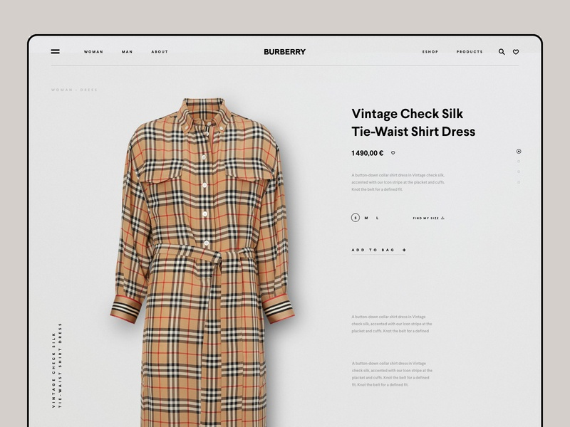 Burberry Shop luxury shop ecommerce fashion landing page one page onepage online platform ui ux cooper  cooper conceptual design clean minimal template grid news about blog