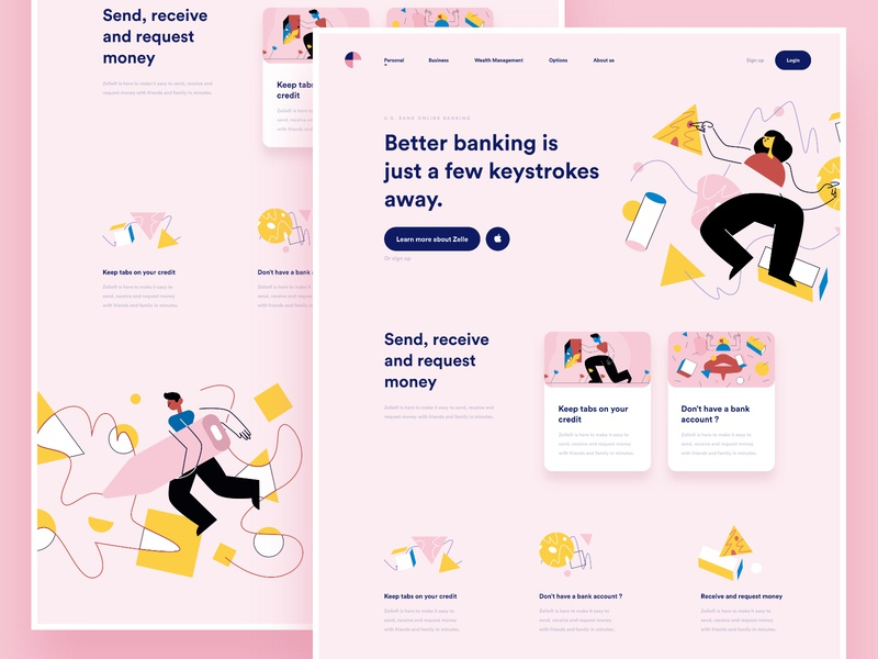 Bank Website vector illustration design analytics chart banking app app web design landing page one page onepage cooper  cooper online platform ui ux conceptual design clean minimal template grid news about blog