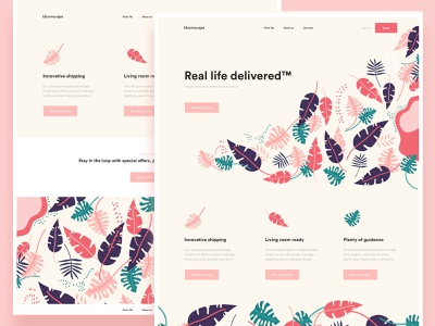 Bloomscape pattern leaf flower tropical design mobile ios android app web design landing page one page onepage cooper  cooper online platform ui ux conceptual design clean minimal template grid news about blog