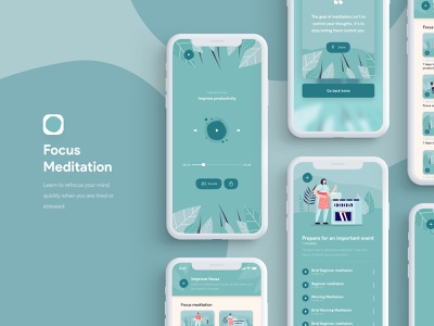 Meditation Sleep iOS App / Focus app store color palette ios 13 mobile song music player calm relax breathe focus meditation meditate vector illustration android ios app turquoise blue
