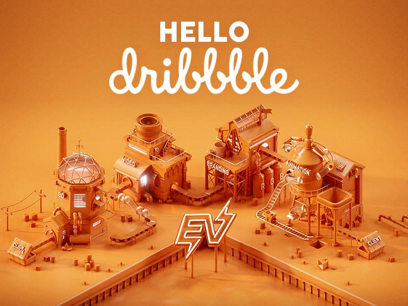 Hello Dribble branding factory 3d cinema4d c4d