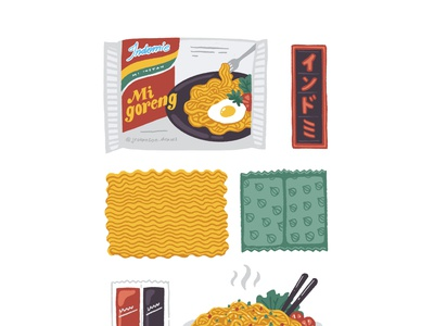 Indomie - Legendary Indonesian Instant Noodles traditional instant noodles instant fast food fastfood snack packaging illustration noodles indomie