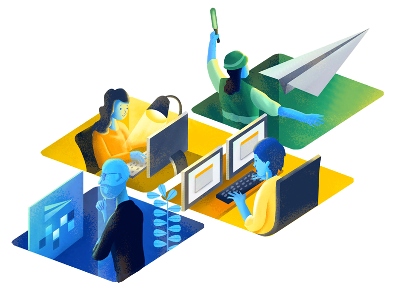 Jira illustration design work team work process tools software tracking team teamwork productivity jira