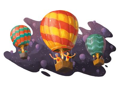 Up we go midnight team night sky fly hot air balloon balloon