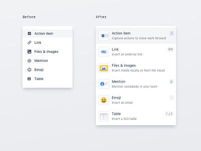 Awesome slash command ⚡️ typeahead uidesign uxui icon set iconography icon atlassian editor document productivity team