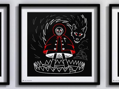 • Tenebrism - 8 Bait • 🐺💀 digital art digitalart line art lineart drawing illustraion inktober2019 inktober whitchy enchanted mystical magical magic devil skull reaper death little red riding hood black wolf wolf