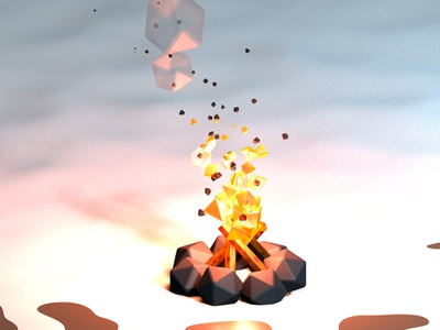 Campfire warm poly low white red illustration c4d 3d hiver winter neige snow cold feu fire campfire