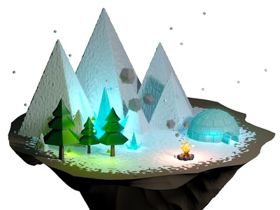 Snowy camp fire illustration blue cold camp igloo mountain tree feu campfire c4d 3d poly low neige hiver winter snow