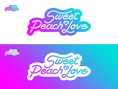 Sweet Peach Love 2 sportswear brand color dégradé illustrator logo gradient blue turquoise fuschia love peach sweet