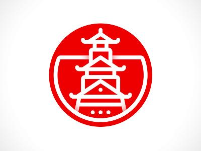 Osaka Castle chateau picto blanc red circle illustrator line osaka flag white rouge japan sun castle