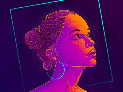 Forward light color hair violet purple gradient warm shape graphic texture square digital photoshop bleu jaune yellow blue portrait