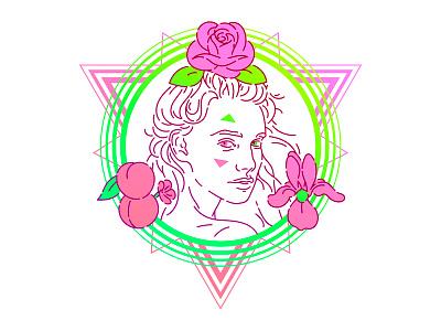 Rose woman rose pink line art portrait illustrator green vert circle gradient hair eye color peach iris peche triangle fleur flower shape