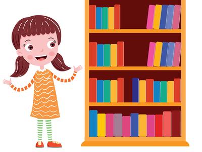 a girl near the bookshelf