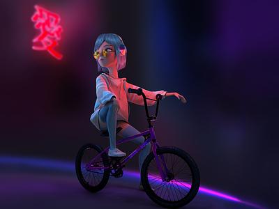 GLOW GIRL marvelous designer bike tumblr aesthetic cool tokio neon bmx 3d charachter design anime 3d art illustration 3d character 3d illustration 3d animation 3d anime 3d cartoon