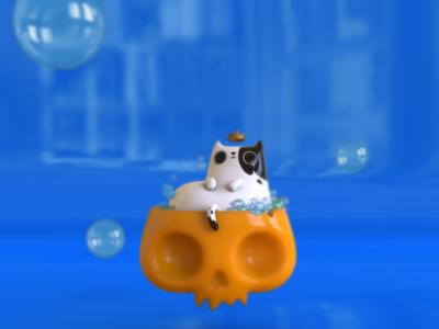 Kitty in a bath