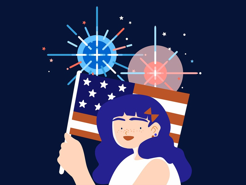 Happy July 4th illustration fireworks american flag 4th of july