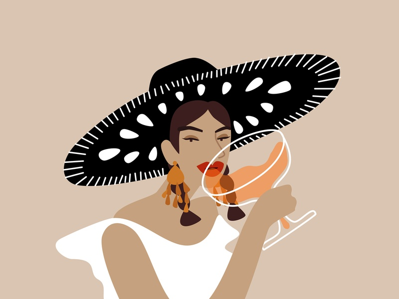 Happy National Tequila Day! illustration margarita drinking girl alcool tequila mexico