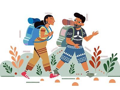 Backpacker couple web design illustration