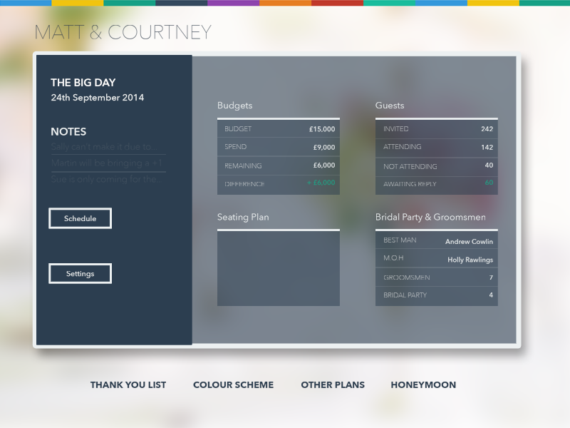 Dribbbleshot ipad app ui design wedding planner