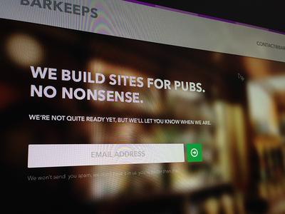 Barkeeps Dribbble landing page web design