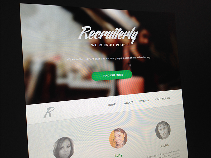 Recruiterly - Dummy content  web design landing page